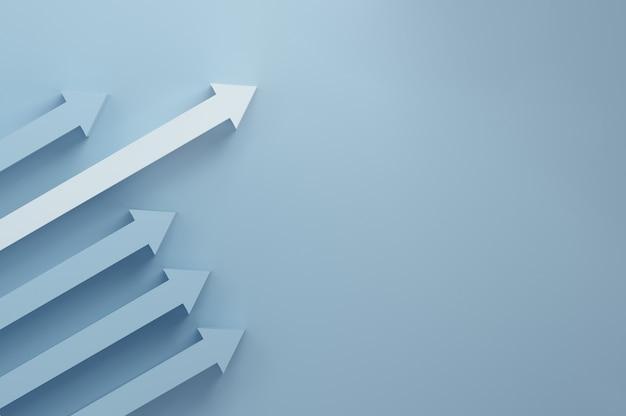 Il prescelto. freccia bianca che sporge dalle altre. verso una crescita di successo. dati, denaro, concetto di affari. rendering 3d.