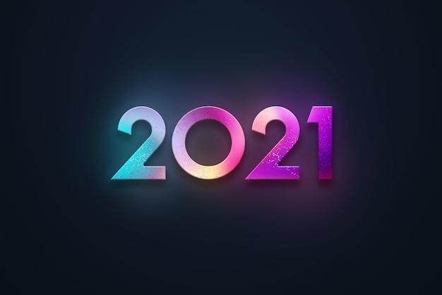 Sfondo di natale, iscrizione 2021 in numeri multicolori su uno sfondo scuro.
