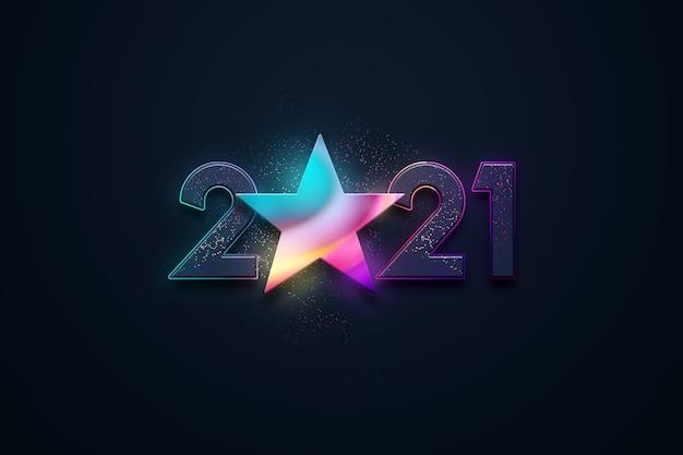 Sfondo di natale, iscrizione 2021 e stella multicolore su sfondo scuro.