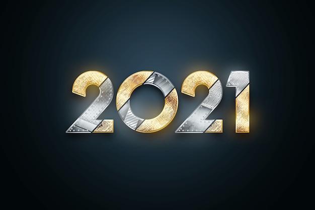 Sfondo di natale con scritte 2021 in numeri di metallo e oro su sfondo scuro.