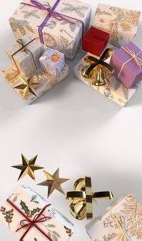 Sfondo di natale con scatole regalo e stelle d'oro