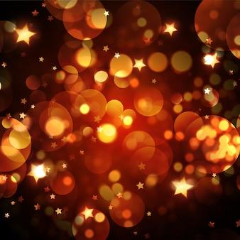 Sfondo di natale con luci bokeh dorate e design di stelle
