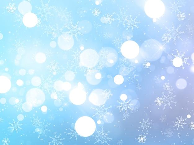 Sfondo di natale con fiocchi di neve, stelle e luci bokeh