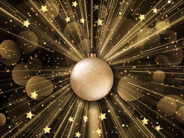 Sfondo di natale con design starburst, stelle e luci bokeh