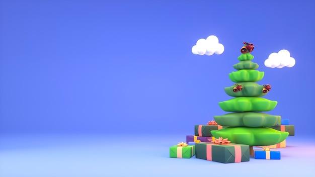 Sfondo di natale con albero e scatole regalo