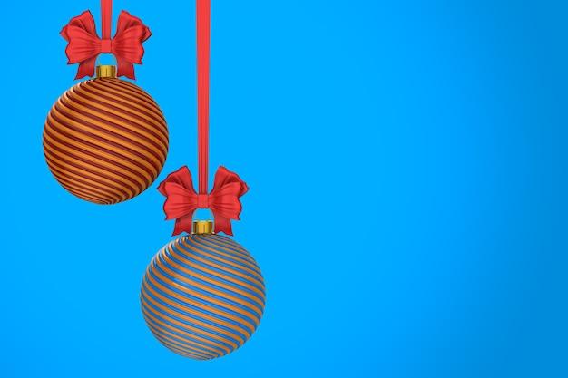 Palla di natale su sfondo blu. illustrazione 3d isolata