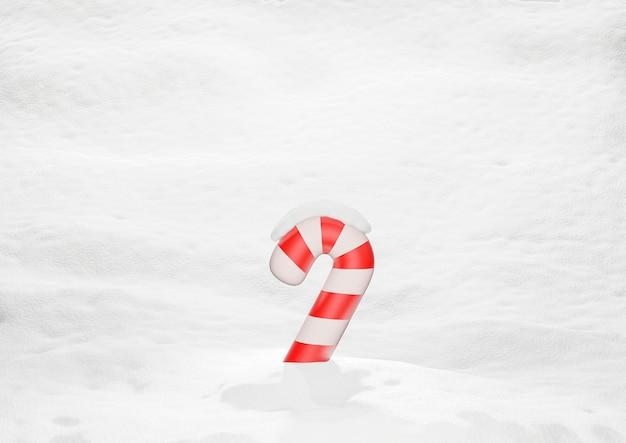 Bastoncino di zucchero di natale su sfondo innevato rendering 3d
