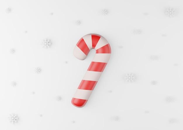 Bastoncino di zucchero di natale con fiocco di neve su sfondo bianco 3d rendering.