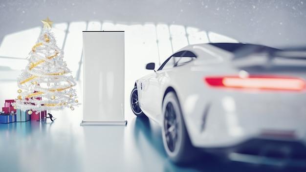 Auto di natale e confezione regalo nello showroom. rendering 3d e illustrazione.