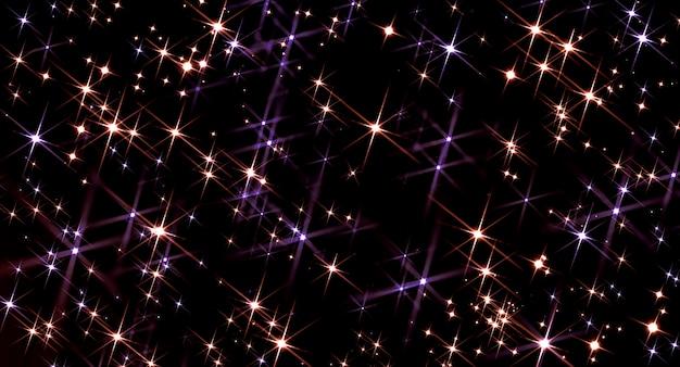Cartolina di natale, vacanza magica sfondo dorato incandescente con stelle bokeh colorate, scintille dorate luminose nel cielo notturno