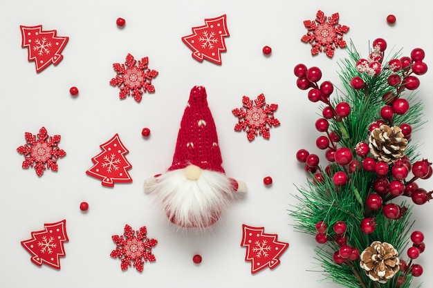 Modello di cartolina di natale, ornamenti di capodanno.