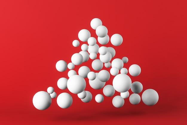 Concetto di natale, albero di natale fatto di palline su sfondo rosso, copia dello spazio