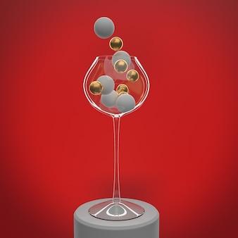 Concetto di natale, vetro con palline su sfondo rosso, copia dello spazio