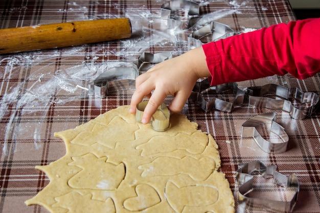 I biscotti di natale sono fatti in casa. messa a fuoco selettiva cibo.