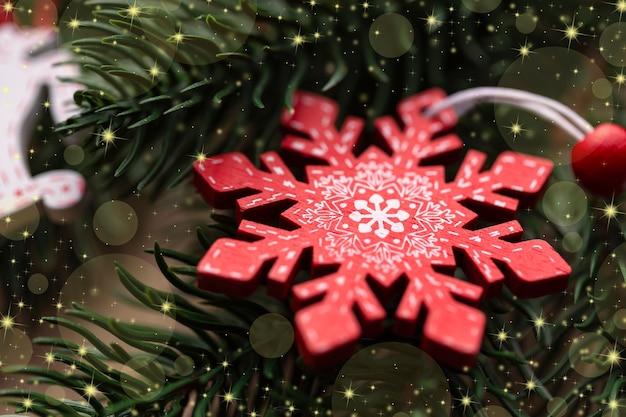 Natale decorato albero di natale primo piano albero di natale fiocco di neve