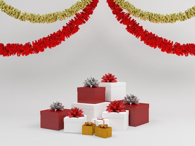 Fondo pastello del contenitore di regalo di modello della decorazione di natale