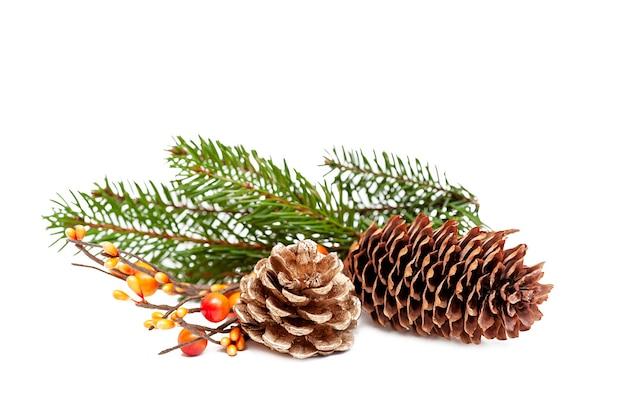 Decorazioni natalizie da coni e rami di un albero di natale