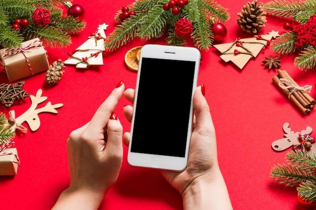 Decorazioni natalizie. felice anno nuovo concetto.