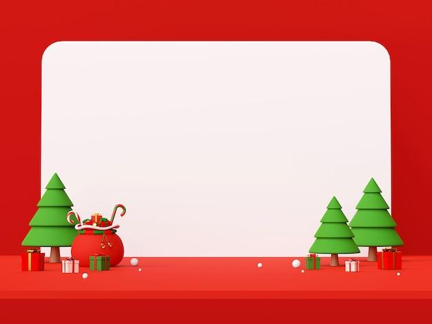 Decorazioni natalizie con rendering 3d spazio copia
