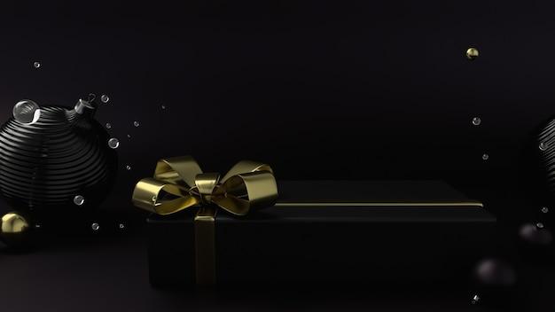Elegante confezione regalo nera di natale con un nastro dorato, sfondo piatto nero. rendering 3d