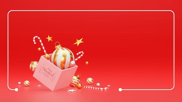 Illustrazione 3d delle decorazioni festive di natale