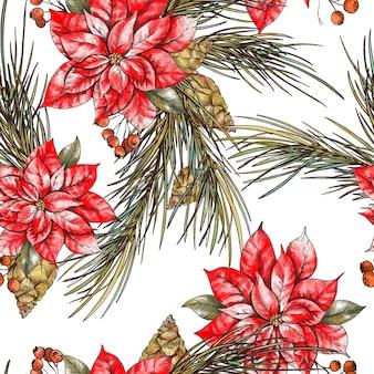 Modello senza cuciture floreale di natale con rami di abete, uccelli e fiori di stella di natale. vacanze capodanno texture