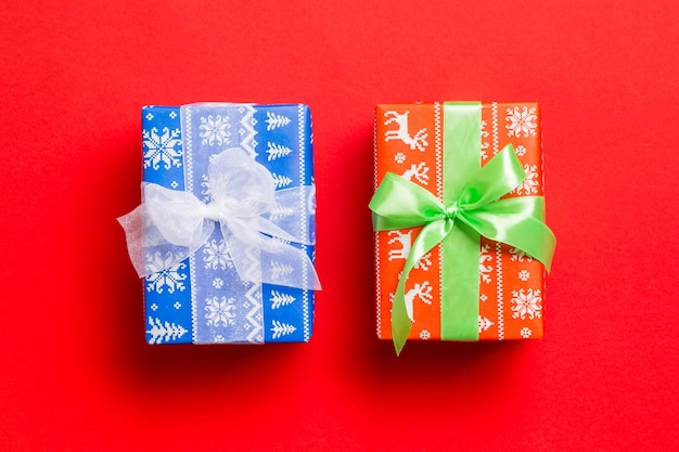 Scatole regalo di natale. lay piatto