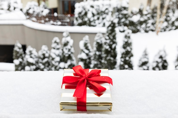 Un regalo di natale in un pacchetto festivo sulla neve. c