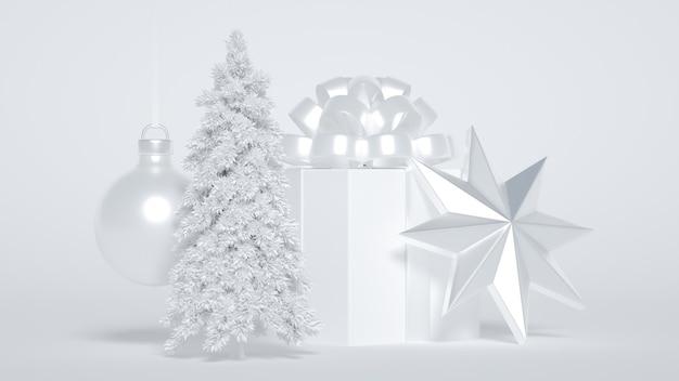 Regalo di natale con decorazioni ad albero e stelle