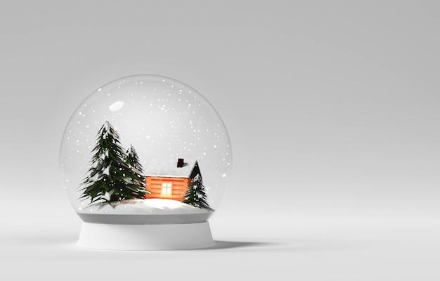 Sfera di vetro di natale illustrazione della sfera magica del nuovo anno giocattolo immagine della scena del paese atmosfera fatata