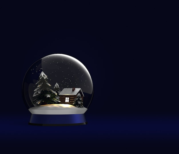 Sfera di vetro di natale con casa in legno e albero innevato globo di neve 3d render palla magica di capodanno
