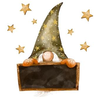 Illustrazione dell'annata degli gnomi di natale. cornice per le vacanze. cartolina d'auguri di gnomi nordici, atmosfera invernale