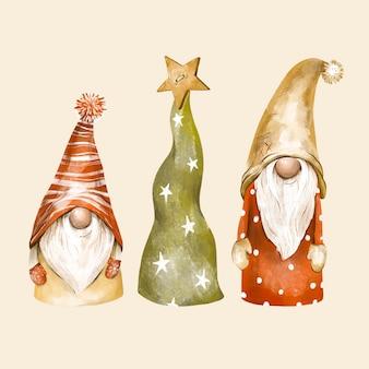 Illustrazione dell'annata degli gnomi di natale. cartolina d'auguri di gnomi nordici, atmosfera invernale