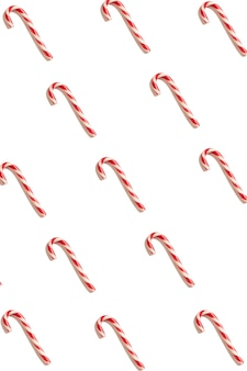 Biglietto di auguri di natale. sfondo bianco. simbolo del nuovo anno. cono di caramelle di natale. modello
