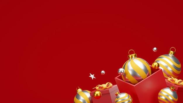 Natale e felice anno nuovo sfondo con decorazioni festive e copia spazio.