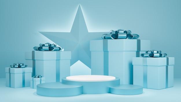 Sfondo di colore blu pastello di natale e felice anno nuovo con confezione regalo e espositore da podio per la presentazione dei prodotti.