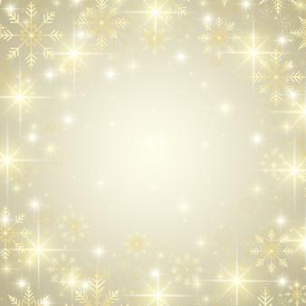 Natale e felice anno nuovo sfondo con fiocchi di neve dorati, illustrazione.