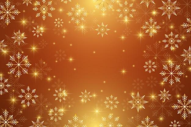 Fondo dell'illustrazione di natale e felice anno nuovo con fiocchi di neve dorati.