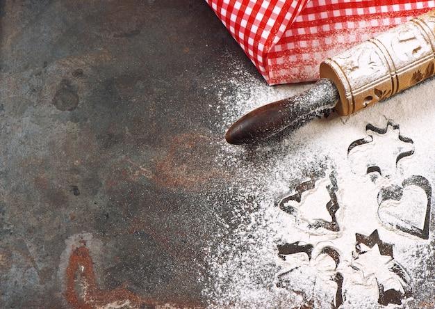 Concetto di vacanze di natale. sfondo di cottura festivo. la cucina fa pagare