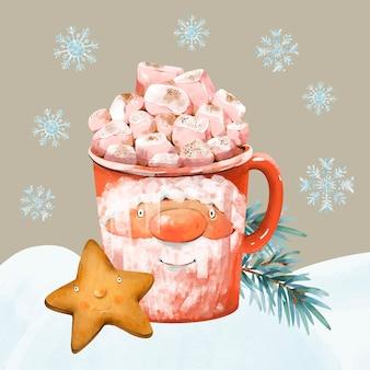 Bevanda calda di natale, marshmallow, biscotto, ramo di abete rosso. illustrazione di vacanza