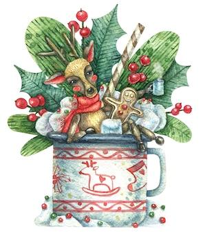 Illustrazione di natale con un simpatico cervo che riposa e si diverte a celebrare la vacanza