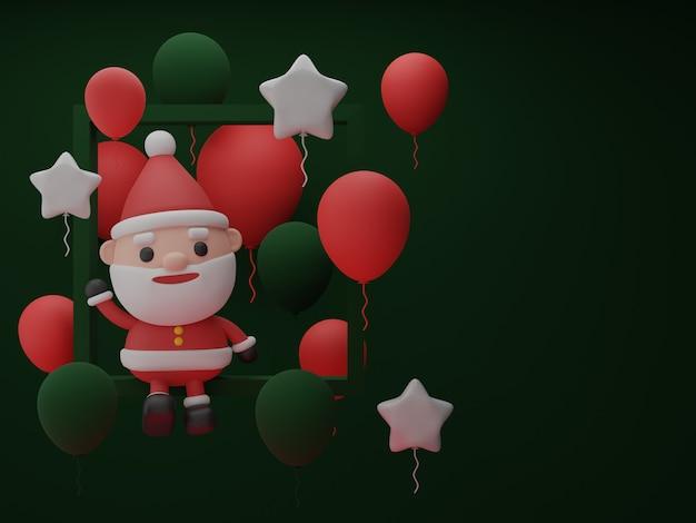 Carta di invito di natale con babbo natale e ornamenti natalizi