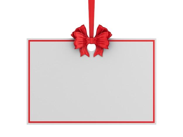 Etichetta di natale con nastro rosso e fiocco su sfondo bianco. illustrazione 3d isolata