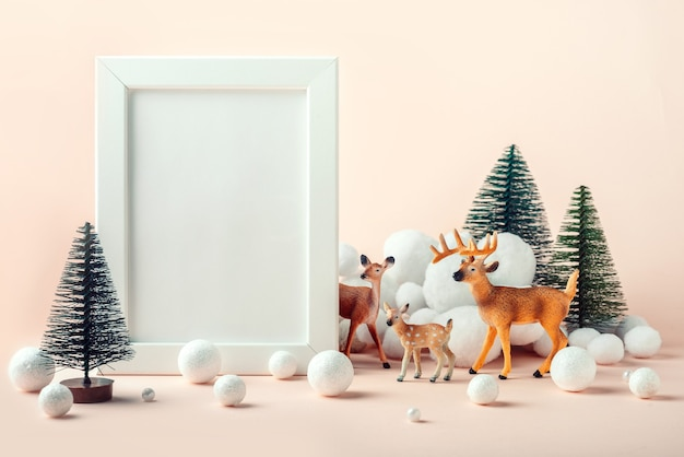 Cornice mockup natalizia con decorazioni di cervi, abeti e neve decorativa