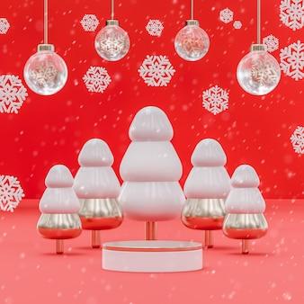 Supporto da palco per podio di natale e capodanno 2022 con decorazioni per il posizionamento del prodotto 3d rendering