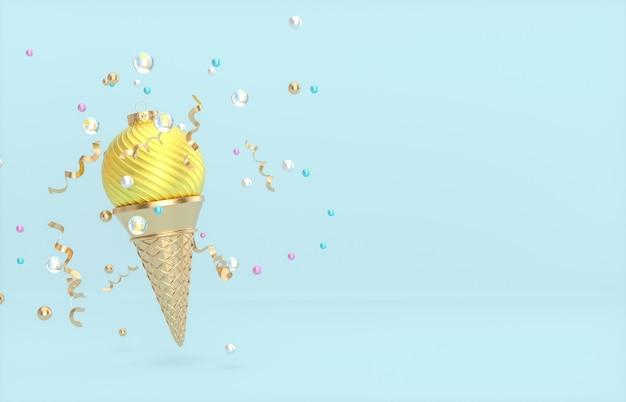 Sfondo di natale e capodanno con palla di natale sul cono gelato.