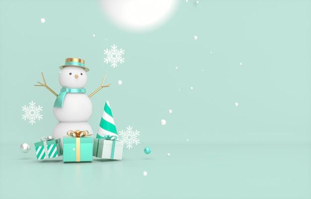 Sfondo di natale e capodanno con pupazzo di neve e confezione regalo.