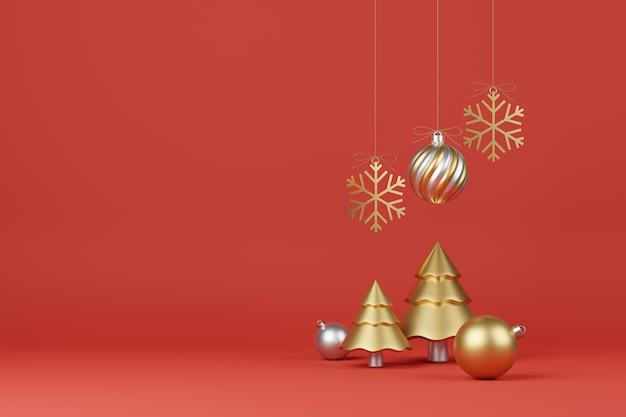 Regali di natale e capodanno con coriandoli e decorazioni. banner design 3d illustration