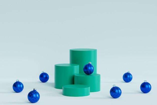 Sfondo vacanze di natale o capodanno, podi verdi o piedistalli per prodotti o pubblicità con palline blu, rendering 3d