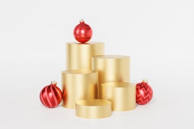 Vacanze di natale o capodanno podi o piedistalli dorati per prodotti o sfondo pubblicitario con palline rosse, rendering 3d